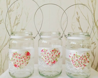 3X Pink & Green Floral Heart and White Lace Tea Light Lanterns