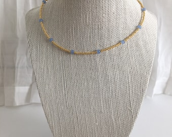 Beaded Choker- Gold and Lavender