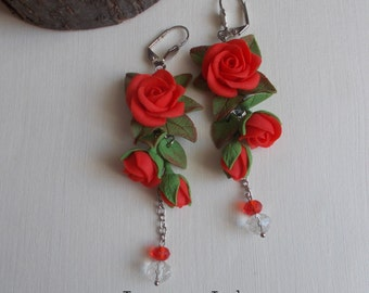 rose earrings, red rose earrings, chandelier earrings, gift for her, bridesmaids earrings, roses bridal jewellery, red jewellery, flower