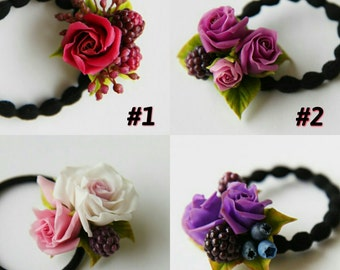 roses headband, blackberry headband, blackberry hair, roses scrunchy, blackberries scrunchy, roses comb, bridal blackberry comb, roses hair