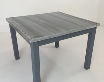 Zinc topped table. Zinc top coffee table