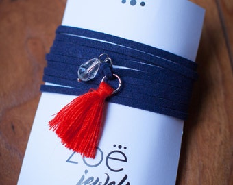 Navy Blue Suede Wrap with Charms and Tassel