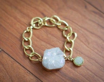 Gold Toggle Bracelet with White Druzy Stone and Charm