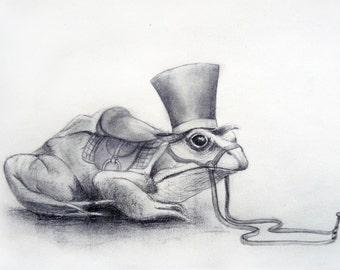 "Black and white printed illustration ""Mr Crapaud"""