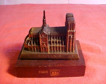 Heavy Metal (possibly brass) Souvenir of Notre Dame Cathedral Mounted on Wooden Base