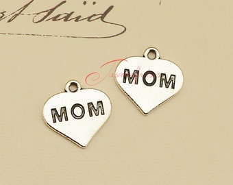 30PCS--16x16mm ,Heart, Heart Charm, Heart Pendant, Mom, Mother's Day, Fittings, Jewelry Making Findings, DIY Supplies