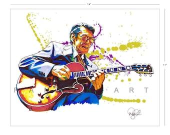 Tal Farlow, Bebop Jazz, 11x14 in, 29x36 cm, Signed Art Print w/ COA