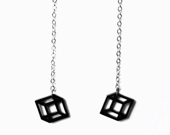 2D 3D Cube Optical Illusion Laser Cut Plexiglass Earrings
