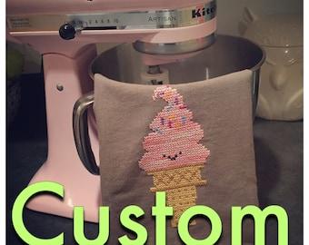 CUSTOM Ice cream dish towel