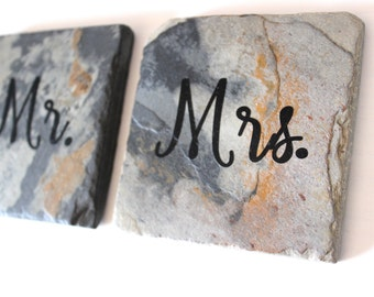 Mr. & Mrs. Slate Tile Coaster (set of 2)