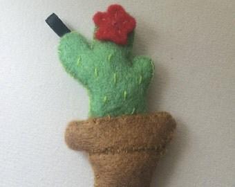 Handstitched felt Cactus Keyring