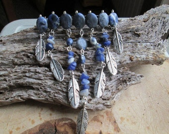 Sodalite and Silver Feather Hair Clip