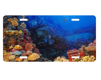 Coral reef, sea life license plate, car tag, vanity plate, auto tag, ocean, personalized