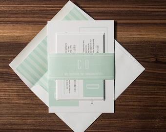 Elegant Wedding Invitation Suite, Mint Wedding Invite, Monogram Wedding Invitation, Invitation Sample -  MONOGRAM
