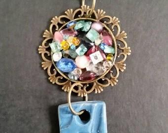 Blue Porcelain and Gems Pendant BP03