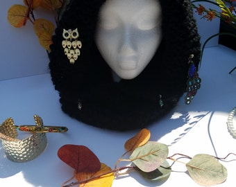 Black hooded cowneck hand knitted scarf