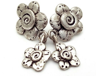 Silver Daisy and Swirls Earrings Vintage Flower from the 90s Bohemian