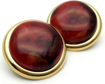 Red Black and Gold Round Stud Clip on Earrings Retro Vintage clip-on Gold tone Frame