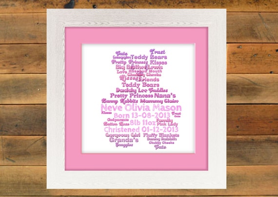 Teddy Bear Shape - Word Art Print