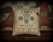 Winter Pillow Tuck, Finished Cross Stitch, Primitive Stitchery, Made To Order