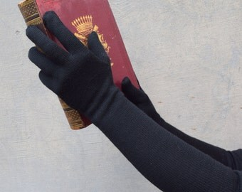 Mother's day gift, Long, black Gloves, Knitted, Woman gloves, Winter accessory, Woman gloves,