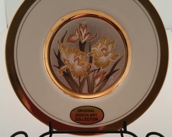 Chokin Art By Dynasty Gallery/Exlusive Designs/Irises/24Kt Gold Trim Plate/Irises Plate/Chokin Art/Dynasty Gallery/Chokin Art Plate/Japan