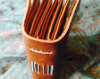 Half- Sized Handmade Leather Travel Journal Brown with Brown Paper