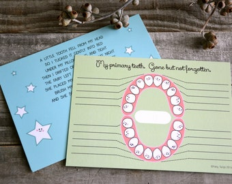 Happy teeth Lost Tooth Record - Loose tooth chart, tooth fairy record, kids baby teeth, keepsake
