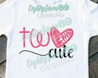 Two Cute; 2nd Birthday Shirt; 2nd Birthday; Girls Birthday Shirt; Birthday Girl; Birthday Shirts; Shirts For Girls; Toddler Shirts; Cute Tee