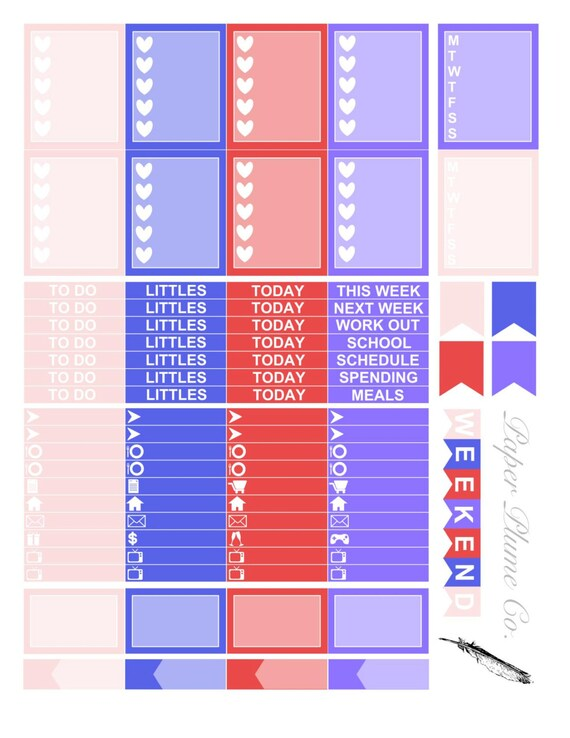 printable star spangled planner stickers from paperplumeco