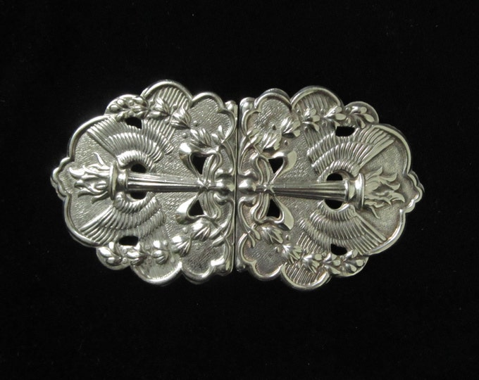 Art Deco Belt Buckle, Art Nouveau style Sterling Silver ladies accessory piece, nurses buckle, hallmarked 1970's revival statement jewelry