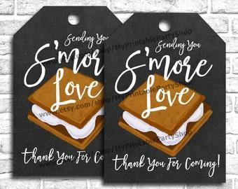 Smore Favor Tags, PRINTABLE Smores Favors Tags, Sending You Smore Love Tags, Fall Favors Tags, Winter Favor Tags, Thank You Favor Tags