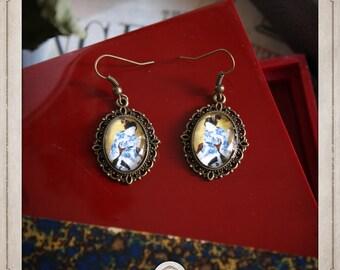 GEISHA earrings silver cabochon oval 13x18mm Japanese prints portrait BOCB023
