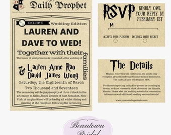harry potter wedding invitation | etsy, Wedding invitations