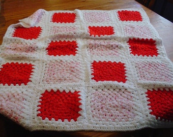 Baby Crib Afghan - Red & Pink with White Background