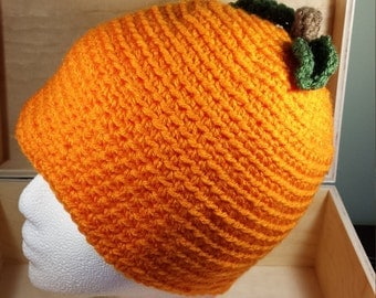 Child's pumpkin hat-crochet child's hat- ready to ship -fall hat- halloween hat