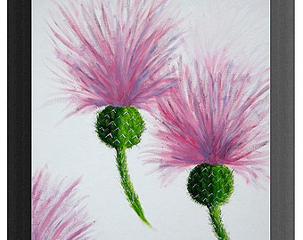 Highland Thistle original painting in oils, complete with frame, ready to hang on your wall Size is 504mm x406mm