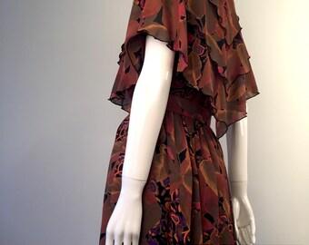 VINTAGE Fall Dress JESSICA Cascade Neckline Feminine Floral Detail