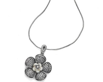 Antique Silver Flower Pendant Necklace NK4018j