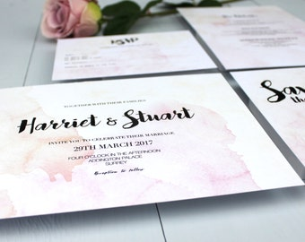 Watercolour Wedding Invitation Suite, Pink Wedding Invite, Wedding Invitation Suite