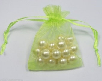 LIME GREEN - Organza Bags 7cm x 9cm For Wedding Favours, Jewellery, Gifts