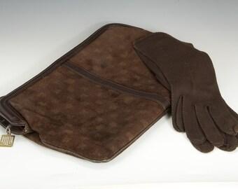 Reduced 30% Lanvin dark brown suede clutch purse 70's