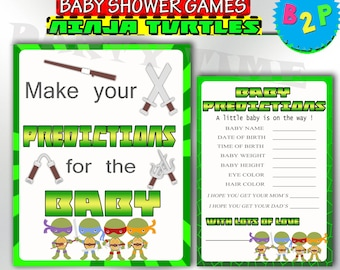Turtles Predictions For Baby, Baby Shower Predictions For Baby Green, Ninja  Turtles Baby Shower