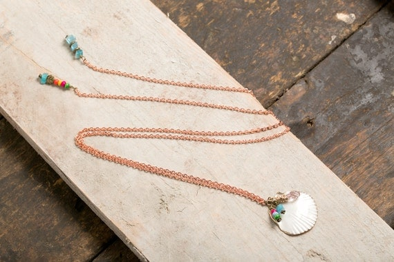 Long necklace lasso Shell and Eye of blue Cat - recycled copper - boho style beach