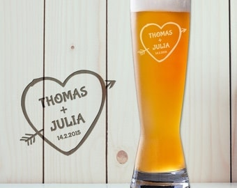 Romantic Beer Glass – Personalised with Name - Pint Glass - Heart and Cupid Arrow