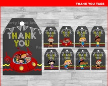 Little Einsteins Thank you Tags Instant download, Little Einsteins Chalkboard tags, Little Einsteins party Thank you Tags