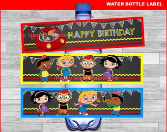 Little Einsteins water bottle labels Instant download, Little Einsteins Chalkboard water labels, Little Einsteins party water labels