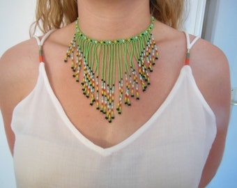 Green seed beads necklace