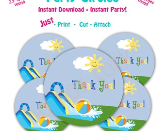 Water slide Birthday Party  Favor Tags -- Instant Download -   Printable  Waterslide Party Favor Tags
