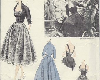 1952 Vintage VOGUE Sewing Pattern B34 DRESS & JACKET (1187) By 'Desses' Vogue 1174
